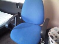 Blue adjustable computer office chair with arms £20