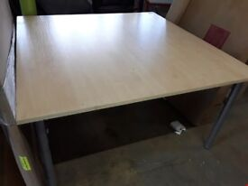 LARGE WOODEN TOPPED OFFICE DESK MEASURES APPROXIMATELY 140X140X74CM