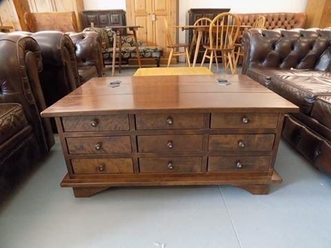 Laura ashley garrat chestnut coffee table chest with 9 for Coffee tables norwich