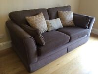 Alstons Large 3 Seater Sofa / Settee, brown chenille, ex. condition