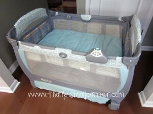 GRACO playpen with bassinet and sound machine
