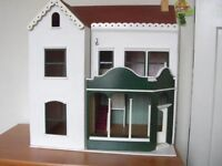 DOLLS HOUSE - VICTORIAN SHOP Furnished and with shop contents and lightsplus