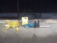 Makita electric chainsaw and attachments as photo