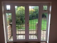 UPVC White French Patio Doors with opening side windows