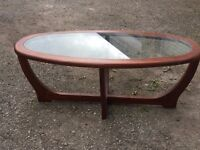 1960's Oval Glass and Wooden Coffee Table