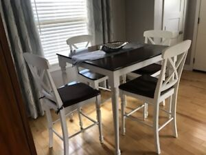 Round Dining Table w/4 Chairs and Bar Height Table w/4 Chairs