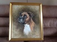 Oil painting of a boxer dog