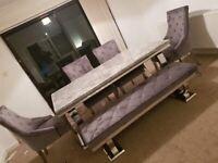 Adriana grey marble 180cm dining table set