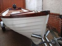 12ft GRP Clinker Dinghy with on road trailer