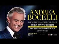 2 Excellent Andrea Bocelli Tickets O2 Arena London 3/11/18
