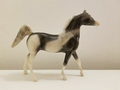 Little Bits/Paddock Pals Breyer Custom, Arabian Stallion, Black and white Pinto