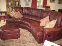 Burgundy leather curved corner Sofa recliners eachend, Electric reclining Armchair, storage stool EC