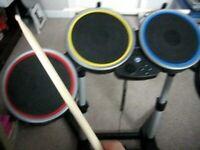 Nintendo Wii Rockband Harmonix DRUM KIT Controller: Guitar, Dongle, Mic, Drums