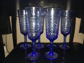 6 x Blue Ombre Flute Glasses