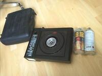 portable gas stove with two can of gas  and carry case