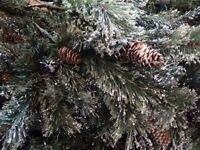Artificial fir Christmas Tree-6 foot with glitter & cones- only used once
