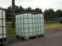 PLASTIC (IBC) CONTAINERS - 1000 LITRE, IN METAL CAGE.