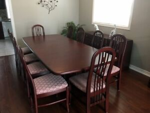 Solid Oak Dining Room Table and Buffet
