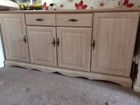 limed oak sideboard,dining table 4 chairs