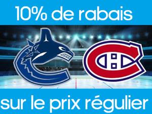 2 billets Canucks Vancouver vs Canadiens de Montreal 140$/paire