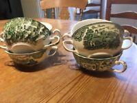 Six soup bowls