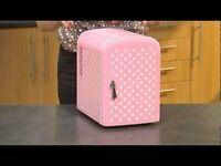 Very Small pink with white pokadot mini fridge