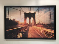 Picture with frame Brooklyn bridge at sunset - black frame. As new!