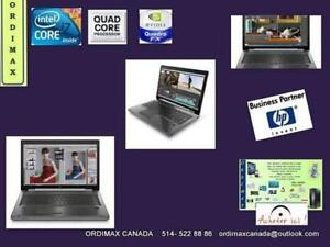 ***Laptop Professionnel  HP 8770W Workstation INTEL I7 QuadCore 8 Theread/16GBRAM/Vdeo NVIDIA Quadro 4GB  514-522-88 86