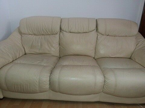 Cream leather 3 seat sofa & chair.