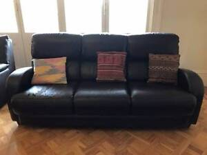 Free Gascoigne Brown Leather 3 Seater Lounge Strathfield Strathfield Area Preview