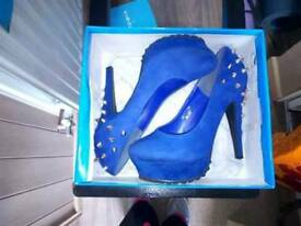 Royal Blue Studded High Heeled Shoes Size 6 Exeter