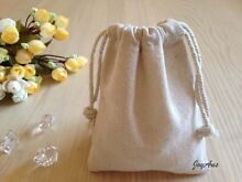 Linen Pouch Drawstring Bags Wedding Party Bomboniere Favors BabyShower Midland Swan Area Preview