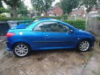 PEUGEOT 206 CC CONVERTIBLE BLUE 98K 2002 2.0 PETROL CHEAP CAR
