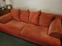 Two sofa's, chair and footstool - free to collector