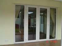 White PVCU French Doors and Side Panels opening outwards 2420 x 2100 ,with restrictors will deliver
