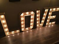 "Rustic light up sign ""LOVE"" for hire *wedding* festoon lighting"