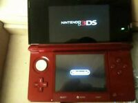 3ds red with 3 games