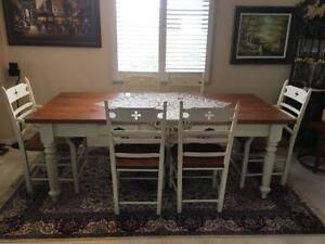 Antique solid wood 6 chair dining table plus coffee table and 2