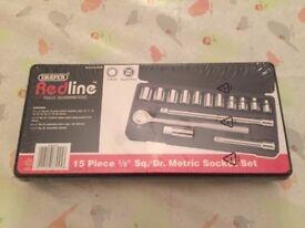 Brand New Draper Redline 1/2-Inch Square Drive Metric Socket Set (15-Piece)