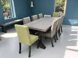 Extending concrete dining table and chairs