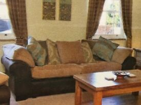 Suade leather and fabric large sofa for sale