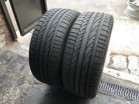 Pair Used Tyres Bridgestone Potenza RE050A 1 RSC (run flat) 225/45r17 91W Dot 3917 / 2217