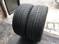 Pair Used Tyres Bridgestone Potenza RE050A 1 RSC (run flat) 225/45r17 91W Dot 3917 / 2217