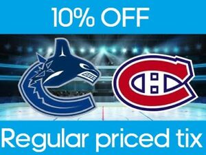 2 tickets Vancouver Canucks vs Montreal Canadiens $140 for pair