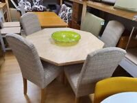 octagonal shaped dining table and chairs