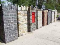 pre-built stone pillars