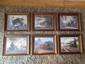 6x prints of steam trains