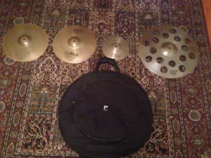 Cymbals with backpack case
