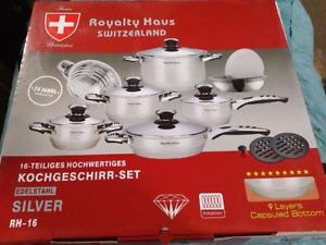 Royalty Haus Switzerland - stainless steel pot set (16 pcs) BNIB