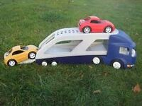 Little Tikes car transporter plus 2 cars, very good condition